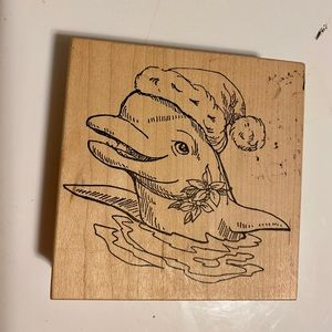 Rare Vintage 90s Dolphin Stamp with Santa hat